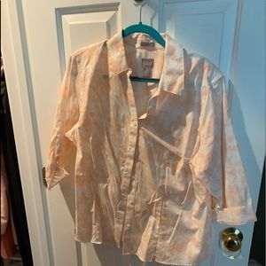 Chico's peach floral 3/4 sleeve blouse
